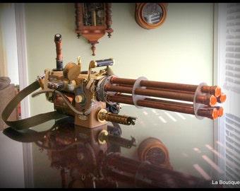Handmade Steampunk industrial cosplay sewing machine gatling gun for the gamer connoisseur