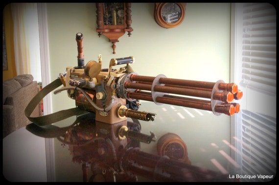 Handmade Steampunk industrial cosplay sewing machine gatling gun for the gamer connoisseur