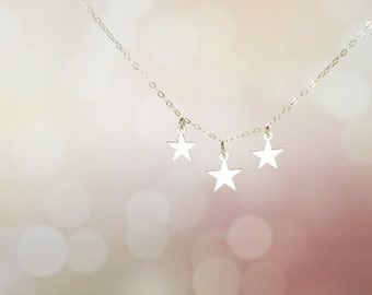 Star Necklace, Tiny Star Necklace, silver star necklace, Christmas Gift, Three Star Necklace, Silver Triple Star Necklace, 4th of July gift