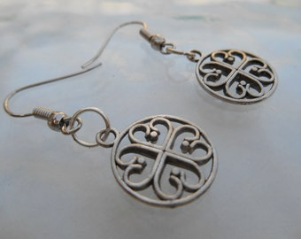 Tibetan Silver Four Leaf Clover Dangle Drop Earrings Scottish Irish Shamrock Charms Good Luck Wish St Patrick Day Symbols Sterling Jewelry