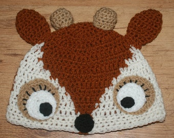 Hand Crocheted Deer Hat