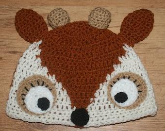 Hand Crocheted Deer Hat  HH043