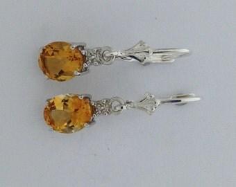 Natural Citrine Diamond Dangle Earrings Sterling Silver