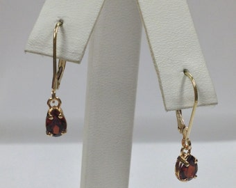 Genuine Garnet Dangle Earrings Solid 14kt Yellow Gold