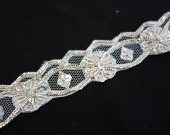 Net with silver meltalic hand embroidery and beads