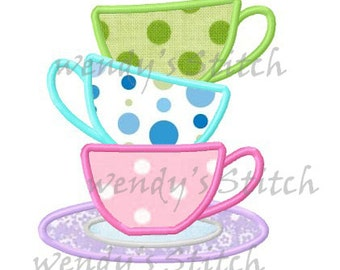 three teacups tea time applique machine embroidery design isntant download