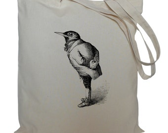 Tote bag/ drawstring bag/ bird in a suit/ cotton bag/ material shopping bag/ shoe bag/ gift bag/ market bag
