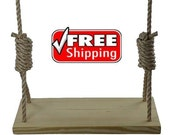 """Premium 4 Hole 23.5"""" Wood Tree Swing for Kids & Adults Garden Patio Outdoor"""
