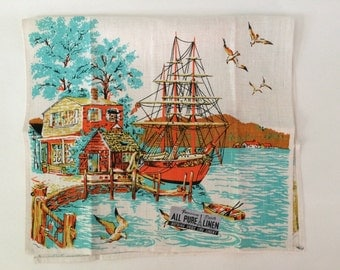 New Old Stock Nautical Linen Tea Towel
