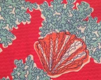 Lilly Pulitzer Coralina Fabric 18x9 or 18x18 Fat Quarter