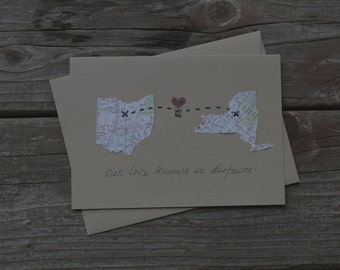 Long Distance Relationship Card customized with personalized states
