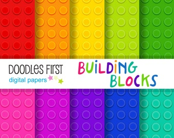Building Blocks Digital Paper Pack Includes 10 for Scrapbooking Paper Crafts
