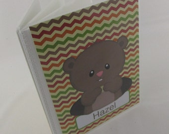 Baby Photo Album boy, Chevron gopher, groundhog personlized picture album, grandmas Brag book, 4x6 or 5x7 178