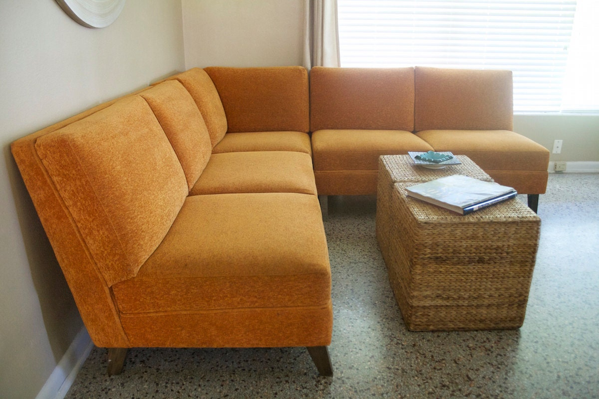 mid century modern sectional sofa couch 1960s 1970s vintage