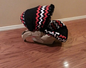 Baby Carseat Cover - Replacement Cover Chevron Red, Black and White with Black Chevron Minky