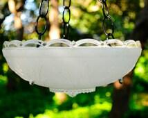 Glass bird feeder - hanging bird bath - hanging glass birdfeeder