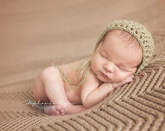 Mohair Bonnet // Newborn Infant Baby Hat // Shower Gift Photo Prop // Handmade Crochet Lace Vintage Look