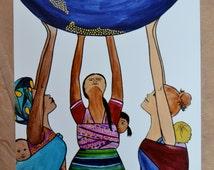 JUNTAS/ 8.5 x 11 art print/ babywearing/ mothersday/ mother and child/ mother/ ring sling/ spiritysol