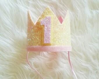 Ready to Ship Pink Lemonade Glittery Birthday Crown   Birthday Crown   1st Birthday   Birthday Girl   Baby Birthday  Sparkle