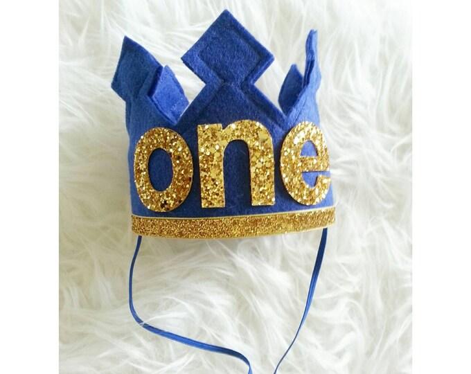 First Birthday Felt Birthday Crown | Royal Blue and Gold | Birthday Crown | Crown Headband | Baby Crown