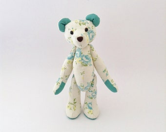 READY-TO-SHIP! Ice Blue Floral Teddy Bear, Girls Nursery Decor, Blue Rose Print, Linen Stuffed Bear