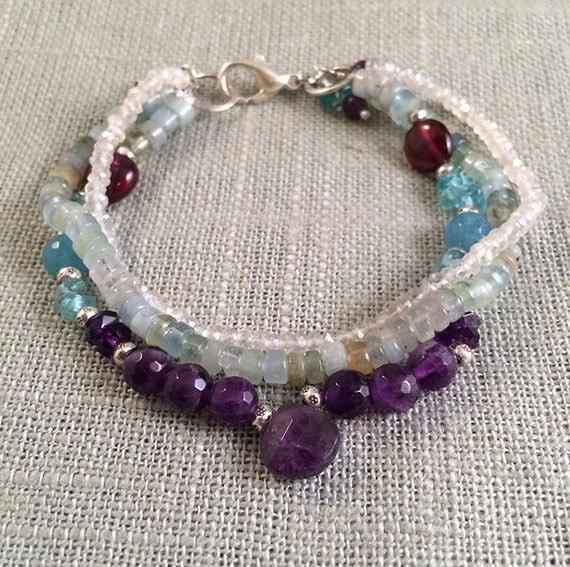 Amethyst Gemstone Bracelet, Multistrand Gemstone Bracelet, Aquamarine & Amethyst Jewelry