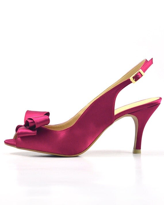 Fuchsia Wedding Shoes Dark Pink Slingback Pump Deep