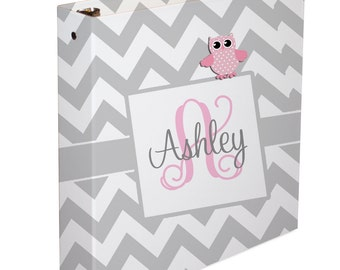 Custom Baby Memory Book - Baby Book - 3 ring Binder - Baby Book Girl - Baby Book Boy - Chevron Owl