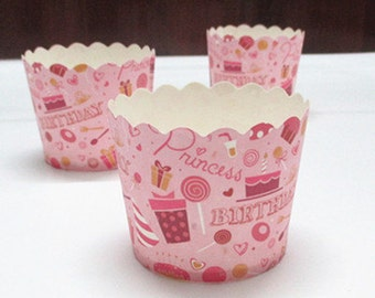 CLEARANCE SALE! Baby Pink Birthday Party Baking Cups Muffins Cups Treat Cups (20)