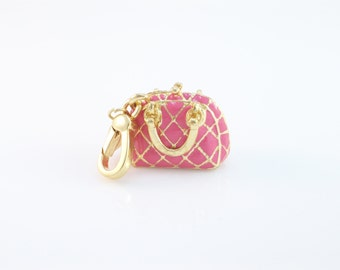 Quilted Pink and Gold Bag Charm