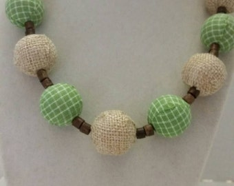 Green Gingham Necklace Gingham and Burlap Necklace Fall Festivals Fall Necklace One Of A Kind Necklace SByourself Necklace Women's Necklace