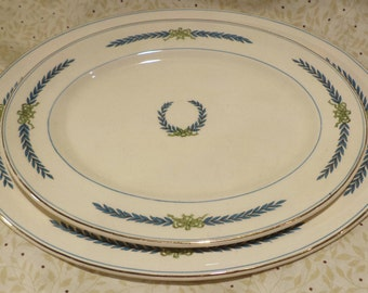 Pair of Staffordshire Platters, English Myott, Athens Blue Laural, Classical Wreath Decoration
