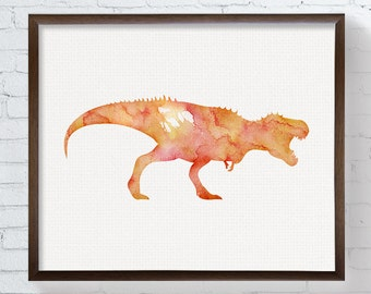 Red T Rex - Watercolor Dinosaur - Nursery Wall Decor - Kids Room Decor - Dinosaur Art - Dinosaur Print, Dinosaur Painting, Baby Boy Nursery