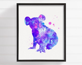 Purple Koala Painting, Koala Art Print, Watercolor Koala, Nursery Wall Decor, Kids Room Decor, Australian Animals, Girls Room Decor