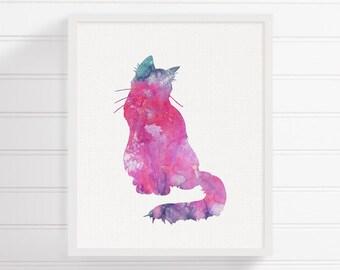 Cat Wall Decor purple cat cat wall decor watercolor cat cat art print cat