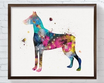 Doberman Pinscher, Doberman Art, Doberman Print, Doberman Painting, Watercolor Doberman, Doberman Poster, Dog Wall Art, Watercolor Dog