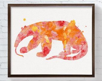 Anteater Art, Watercolor Anteater, Anteater Painting, Anteater Print, Wall Art, Wall Decor, Nursery Wall Art, Kids Room Decor, Animal Art