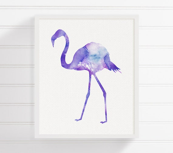 Purple Flamingo Painting Flamingo Art Print Watercolor