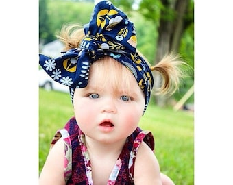 Navy feather and flowers big bow headwrap