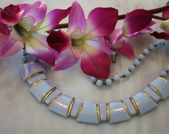 Lovely Deco/Egyptian Modern Vintage Ceramic Blue Grey Choker