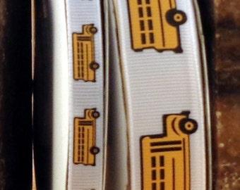 "2 Yards 3/8"" or 7/8"" School Bus Print Grosgrain Ribbon - US Designer"