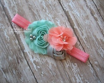 Coral and mint headband, mint and coral headband, coral aqua gray, aqua coral grey headband, baby headband, newborn photo prop, shabby chic