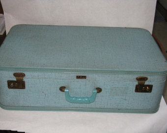 Vintage luraline fifth avenue suitcase turquoise blue hard case mid century modern luggage