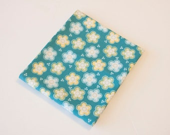 Teal with Green, Blue and Yellow Flower Fabric - Fat Quarter - Destash