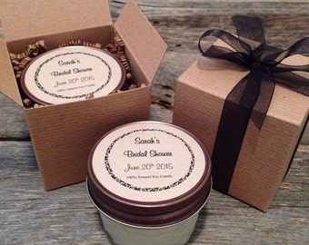 1 Dozen Mason Jar Soy Candle Favors