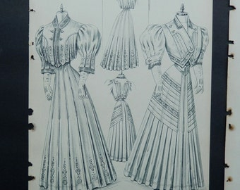 Original Edwardian Ladies Fashion Illustrations ~ Three Pages ~ Five Victorian Styles ~ Women's Clothing Prints