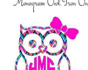 Monogram Owl Iron on decal