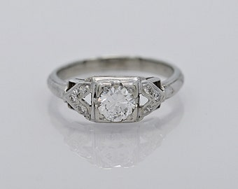 Art Deco Engagement Ring .45ct. Diamond & 18K White Gold - J32864