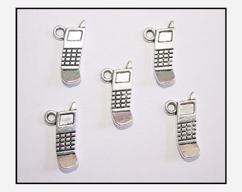 x5 Silver Mobile / Cell Phone Charms  20mm x 10mm