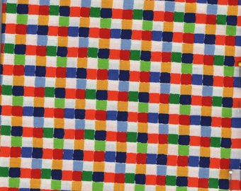 Primary Colors Quilt Fabric - Colorful Blocks - Brightly Colored Squares on White - VIP Print from Cranston - OOP - 3/4 Yd